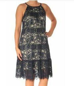 Alfani 18W Navy Lace Sleeveless Halter Neck Dress